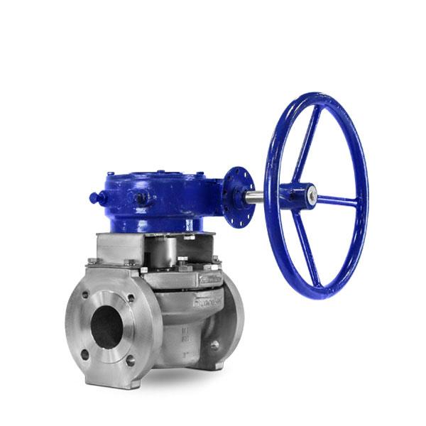 Full port sleeved plug valve gear FluoroSeal