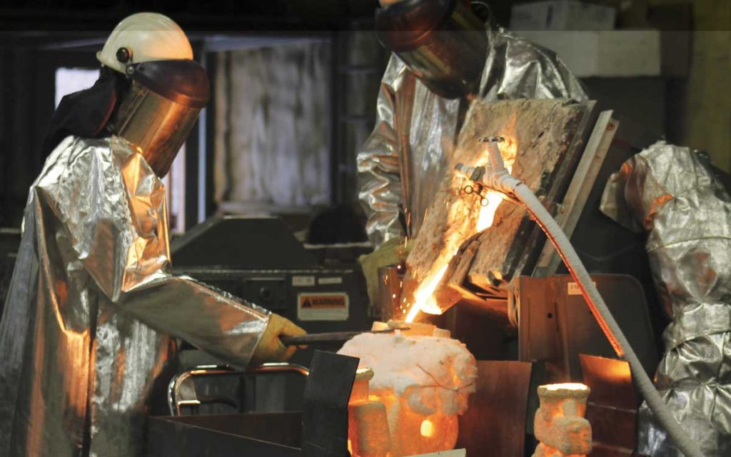 Foundry FluoroSeal Pouring metal into a mold