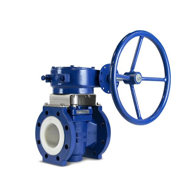 Lined plug valve gear operated FluoroSeal lv1