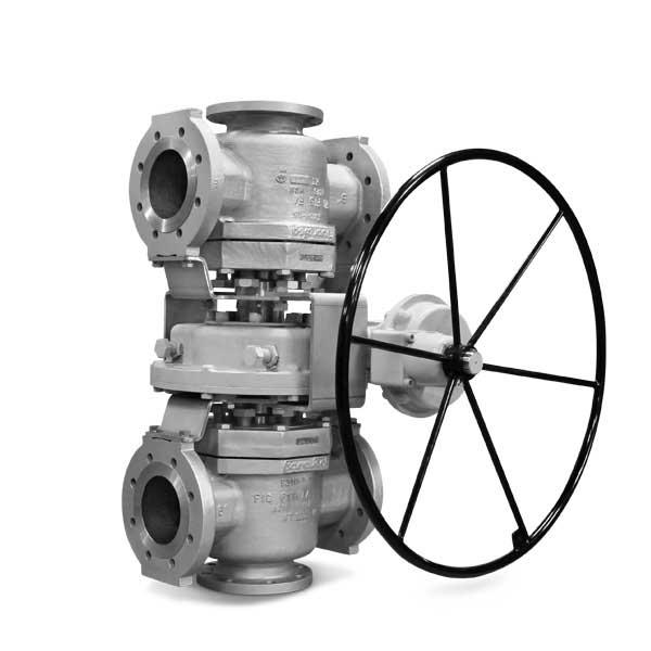 Multiport plug valve gear operated FluoroSeal lv1