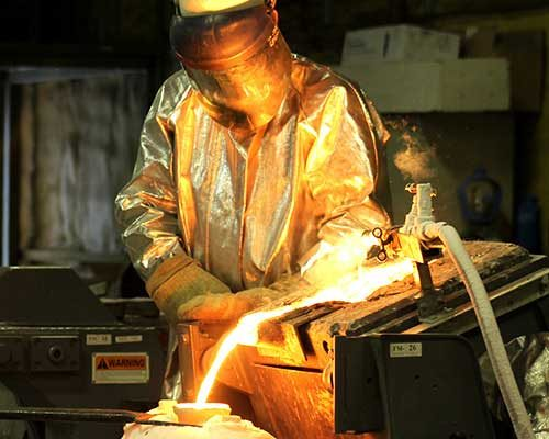 FluoroSeal foundry pouring the metal